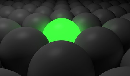 3d image of a green glowing sphere around a lot of dark spheres Stock Photo