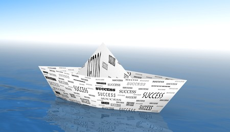 3d image of a paper boat on the sea with success text on it photo
