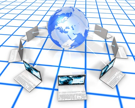 3d image of laptops around a shiny globe Stock Photo - 3979580