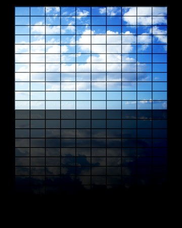 clod: wide tv screen with a sky and clouds on it