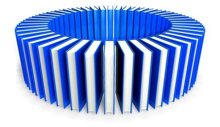 ebox: rendering 3D di un cerchio blu libri isolata on white background