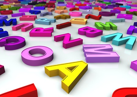 the depth: A lot of colroful letters on a white reflective floor with depth of field effect Stock Photo