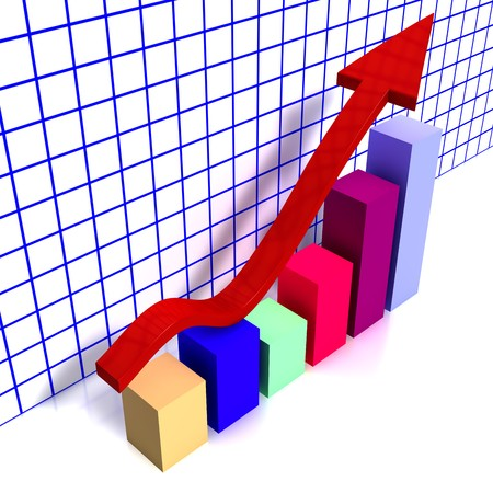 3d chart with colorful cubes and a raising red arrow photo