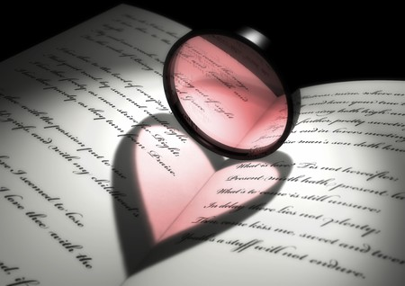 light effect of a heart shape on a book of poetries photo