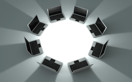 3d rendered image of a perspective view circle of eight laptops with shadow  photo