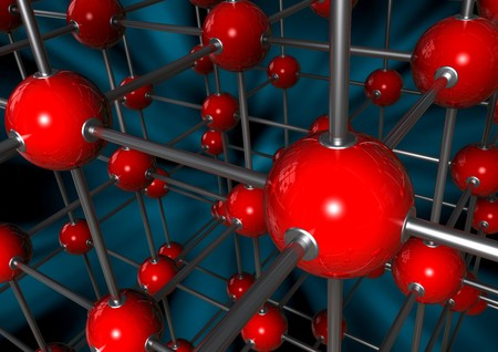 reticular: 3D rendered Molecule with red atoms and chromed metal  joints(Abstract)