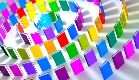 guide book: 3d render of a circle of colorful books around a globe Stock Photo