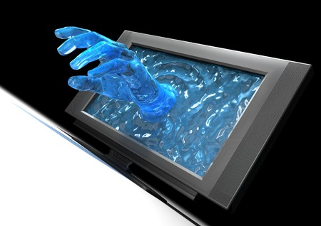 computer peripheral: Hand coming out from a wide screen