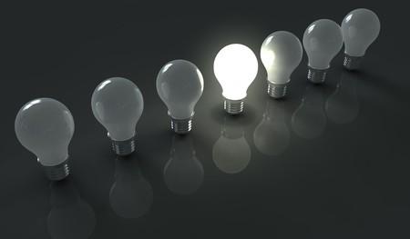 focos de luz: Brillante luz de la bombilla de luz apagada entre bubls
