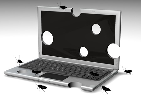 Laptops Withholes an bugs on it Stock Photo - 4409209