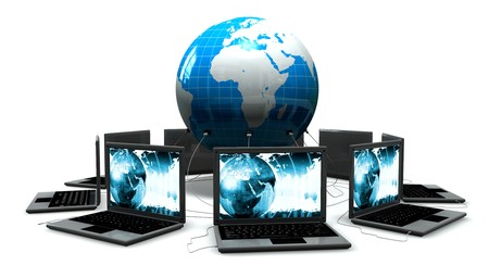 laptops: Laptops Connects to a Globe