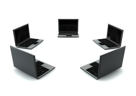 Circle Of laptops isolated on white background Stock Photo - 4409200
