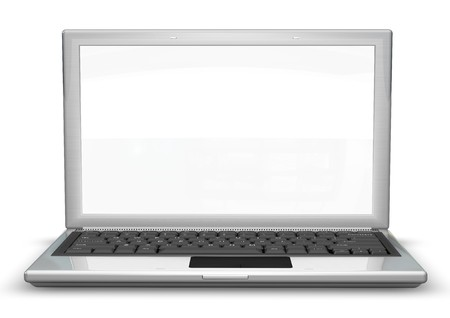 recycling logo: laptop with a blank screen useful for composition