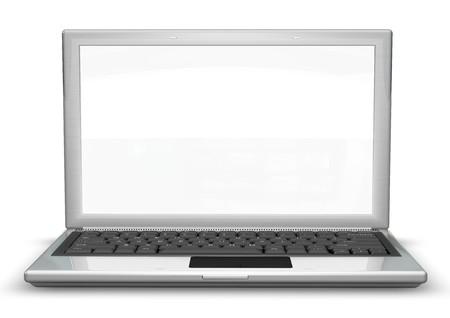 logo informatique: ordinateur portable avec un écran vide utile pour la composition