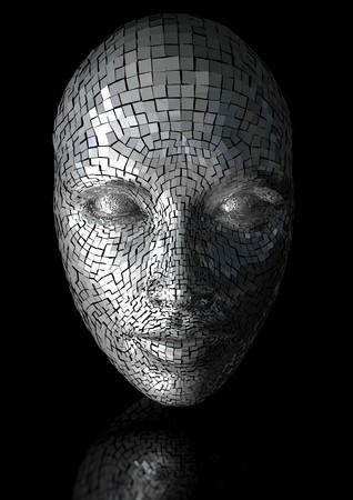 sci: m�scara de fisuras de una cara de mujer Foto de archivo