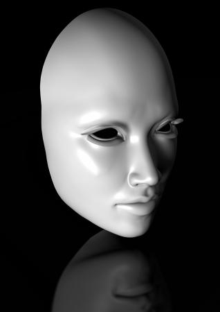 white mask isolated on black reflective background