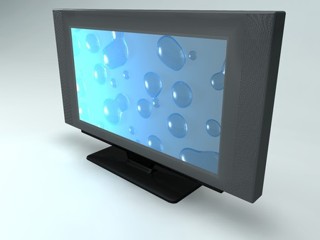 monitor with water drops on screen photo
