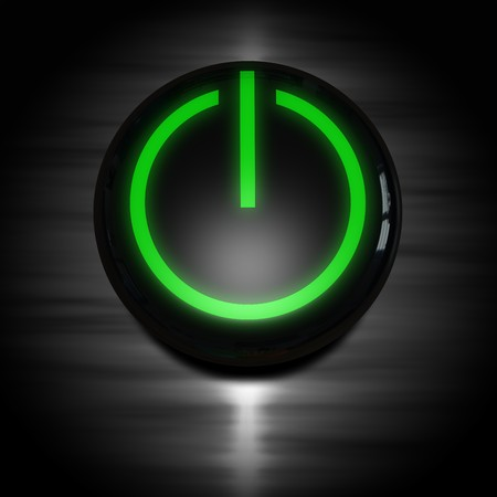 black power on button with green glowing symbol Stock Photo