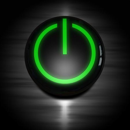 powerbutton: poder negro en el bot�n con el s�mbolo verde brillante Foto de archivo