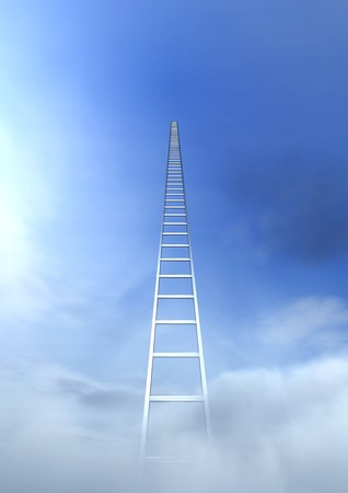 3d image of a very high stair on a blue sky photo