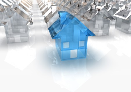 rentals: 3d rendered image of a miniature Blue Glass House in front of a lot of white houses Stock Photo