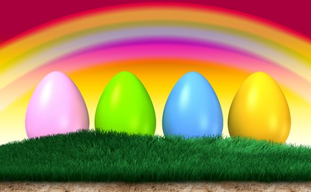 colorful easter eggs isolated on a grass with a colorful rainbow over the  background photo