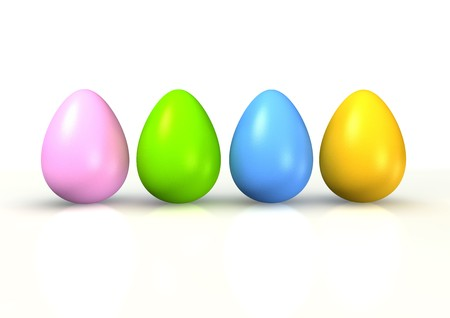 reflexive: colorful easter eggs isolated on white background Stock Photo