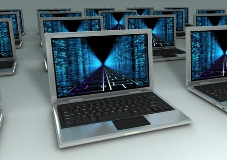 3d image of Closeup of Laptops with matrix stile wallpaper photo