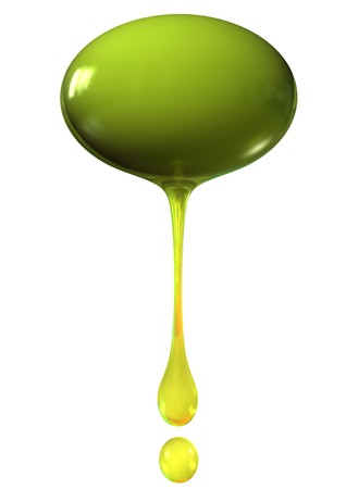 strained: olive with drops of oil isolalted on white background