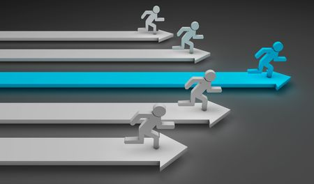 quickness: 3d image of arrows with a blue man and other white running over it Stock Photo