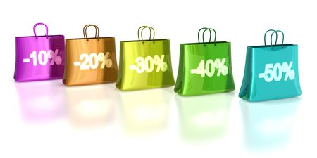 colorful shopping bags wit various discount on front photo