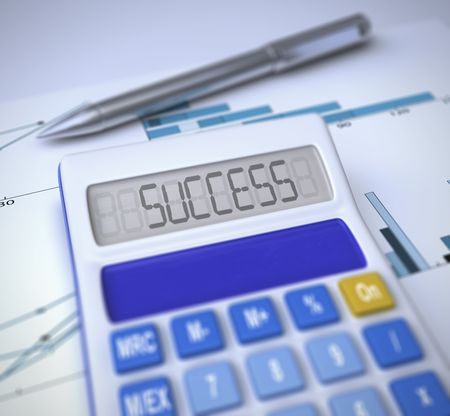 close-up of a black calculator with susccess text written on it,a chromed pen on a financial chart sheet Stock Photo - 4702780