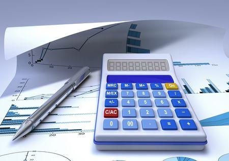 finacial: a calculator and a chromed pen on a finacial chart sheet Stock Photo