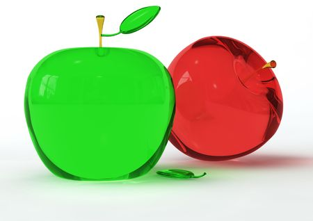 extraordinary: Two Apples of glass one redand one green