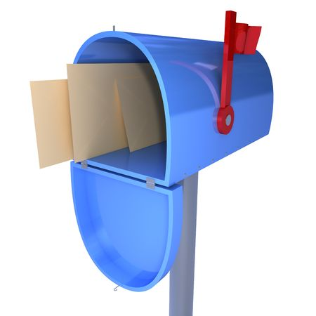 3d mailbox with letters inside isolated on a white background Stock Photo - 4702783