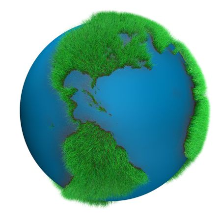 Earth Globe with grass view of america photo