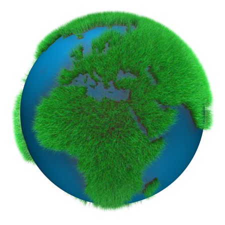 Earth Globe with grass view of Africa and Europe photo
