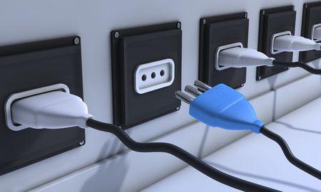 Imagen en 3D de cuatro enchufes conectados en blanco y uno azul desconectado.