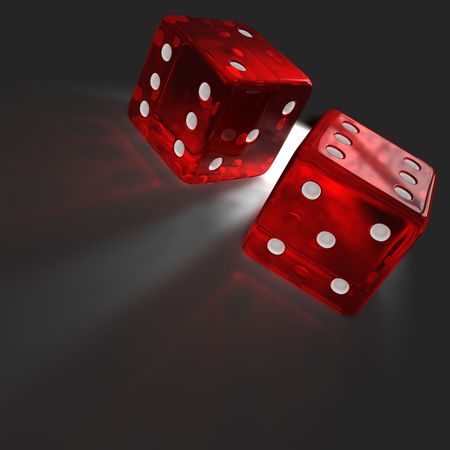caustic: Two red Transparent dices with caustics effect on the floor