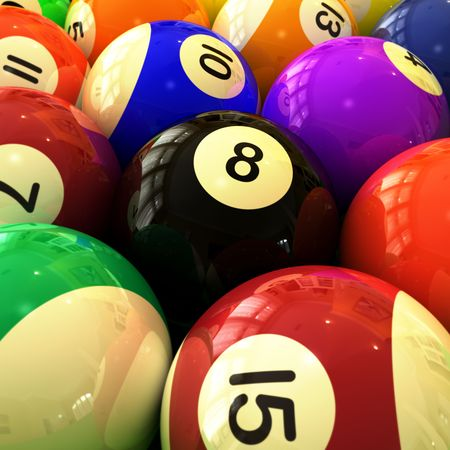 closeup of colorful billiards balls (eight ball detail) Stock Photo - 5631510