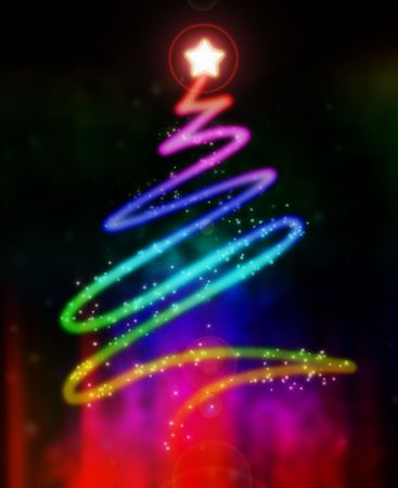 Abstract illustration of a glowing and colorful Christmas tree illustration