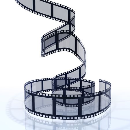 video reel: 3d image of a filmstrip isolated on white background