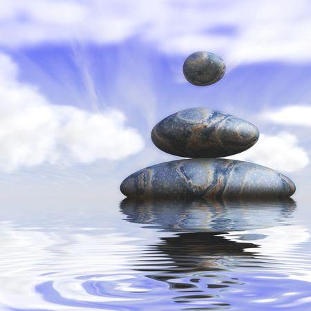 水で柔らかく曇り空背景を持つ 3 つの魔法の石