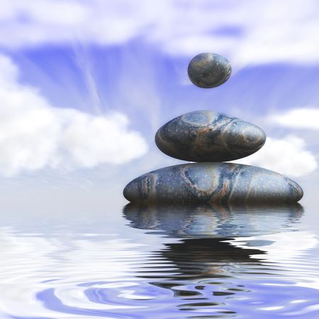 circular blue water ripple: Three magic stones with a soft cloudy sky background on the water