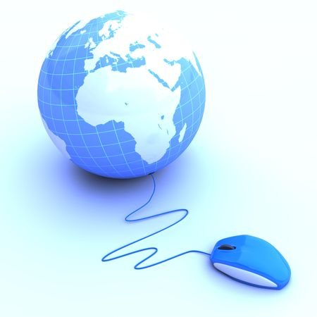 information technology logo: Rendered image of a mouse connected to a globe isolated on white background