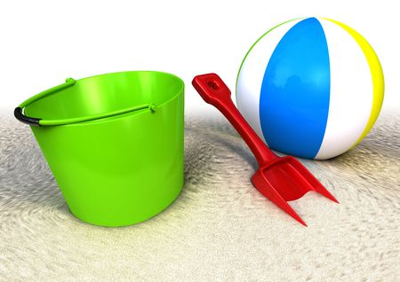 3d rendered image of a sand pail a showel and ball on the beach photo