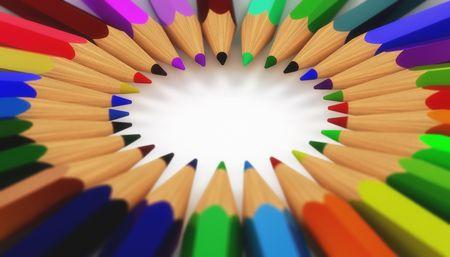 niños con lÁpices: primer plano de una forma circular de lápices de colores