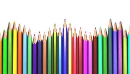 Wave shape of colorful pencils isolated on white background Stock Photo - 5631504