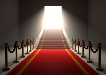 3D entrance with a red carpet and gold poles with stairs and a shining exit door photo