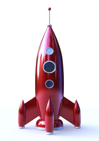 3D rendering of a Rocket isolated on white background photo